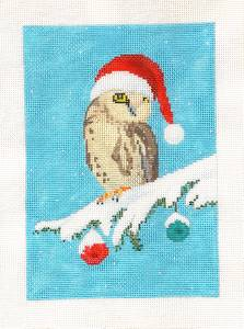 "Canvas-Christmas Owl in Santa Hat""HP Needlepoint Canvas by Scott Church ***SPECIAL ORDER***"