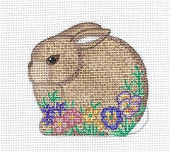 Spring Bunny in Pansy Flowers Ornament handpainted Needlepoint Canvas by Alexa