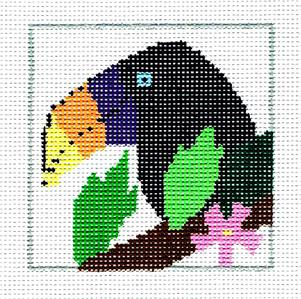 "Coaster~Tropical Toucan 4"" Sq. Coaster handpainted Needlepoint Canvas Jean Smith"