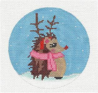 Round-RUDOLPH the Hedgehog in Pink Scarf handpainted Needlepoint Canvas by ZIA ~ Danji