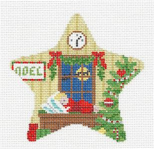 Christmas~Waiting for Santa STAR Ornament handpainted Needlepoint Canvas by Susan Roberts