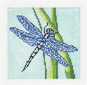 "Canvas~Blue Dragonfly 4"" Sq. Coaster Insert handpainted Needlepoint Canvas by Needle Crossings"