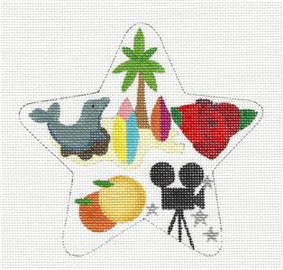 Star~Southern California STAR Ornament handpaintd Needlepoint Raymond Crawford