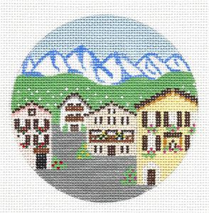 "Round~4"" Austria Alpine Village ~ Destination Needlepoint Canvas by Painted Pony"