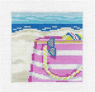 "Canvas~ Beach Bag on the Sand 3"" Sq. Insert handpainted Needlepoint Canvas Needle Crossings"