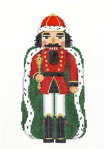 Nutcracker~Ermine King Nutcracker handpainted Needlepoint Ornament by Susan Roberts