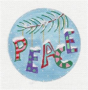 "Round~PEACE On Earth Pink handpainted Needlepoint Canvas 4"" Ornament Juliemar"