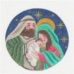 Round ~Holy Family ~ Mary, Joseph & Baby Jesus Needlepoint Canvas Rebecca Wood
