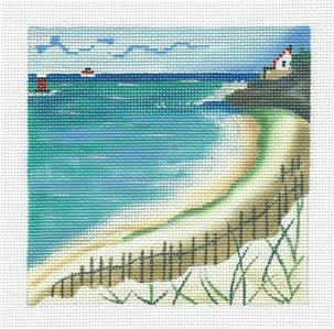 Canvas~Waters Edge Seaside Coastline handpainted Needlepoint Canvas ~ Juliemar
