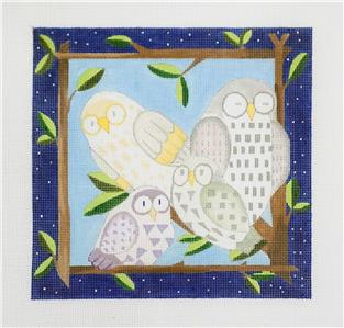 "Four OWLS FRIENDS handpainted 8"" Sq. Branch Frame Needlepoint Canvas by BB"