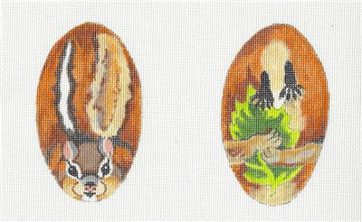 2 Sided Chipmunk Scissor Case handpainted Needlepoint Canvas from Susan Roberts
