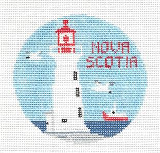 Travel Round~NOVA SCOTIA, CANADA handpainted Needlepoint Canvas Ornament Kathy Schenkel**MAY NEED TO BE SPECIAL ORDERED**