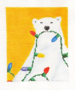 Canvas~Polar bear with Lights handpainted Needlepoint Canvas by Scott Church ***SPECIAL ORDER***