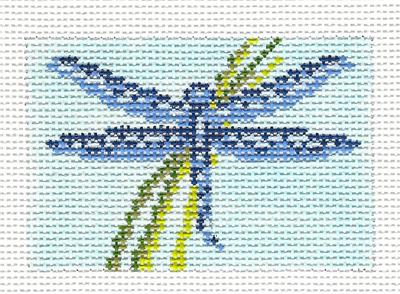 Canvas~ Dragonfly to fit Planet Earth ID TAG handpainted Needlepoint Canvas N.Crossings
