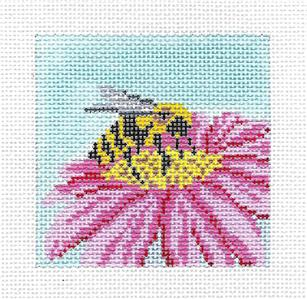 "Canvas~ Bumble Bee on Flower 3"" Sq. handpainted Needlepoint Canvas Needle Crossings"