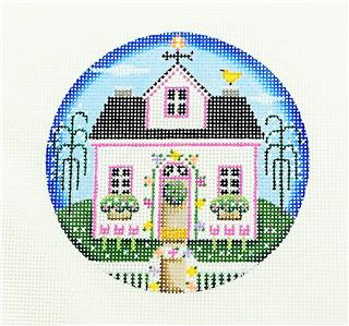 "Round ~Spring Cottage 4"" handpainted Needlepoint Ornament Canvas by Rebecca Wood"