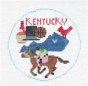 Travel Round~STATE of KENTUCKY Horses handpainted Needlepoint Canvas~by Kathy Schenkel**MAY NEED TO BE SPECIAL ORDERED**