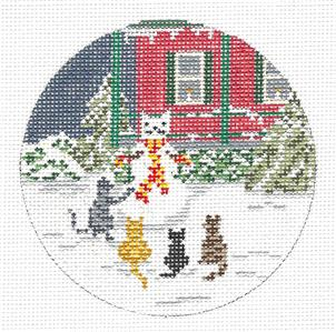 "Round~4"" Four Snow Cats Building a Snowman handpainted 18m Needlepoint Canvas N. Crossings"