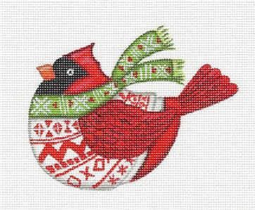 "Canvas~""Nordic Red Cardinal"" HP Needlepoint Ornament Canvas by L. Siebert ~ Pon"