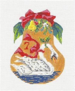 Kelly Clark Pear – 7 Swans Swimming & STITCH GUIDE handpainted Needlepoint Ornament by Kelly Clark