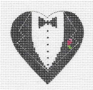 Elegant GROOM HEART handpainted Needlepoint Canvas Ornament by Funda Scully