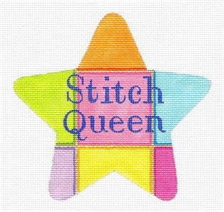 Star~ STITCH QUEEN Star handpainted Needlepoint Ornament Canvas Raymond Crawford