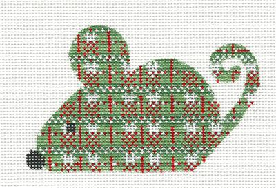 Mouse - Christmas Plaid Mouse handpainted Needlepoint Canvas CH Designs ~ Danji