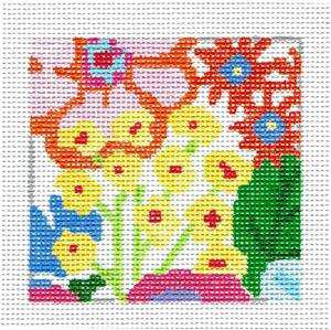 "Coaster~Fantasy Garden 5 4"" Sq. Coaster handpainted Needlepoint Canvas Jean Smith"