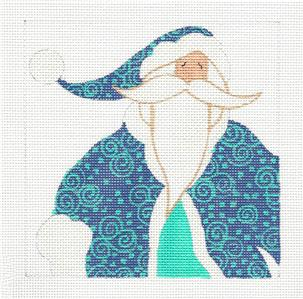 Square ~Turquoise & Blue SANTA handpainted Needlepoint Canvas Curtis Boehringer