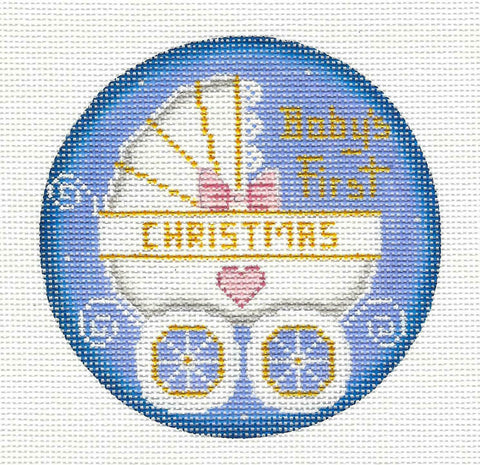Round ~ Baby Girl's First Christmas Carriage handpainted Needlepoint Canvas Rebecca Wood