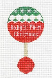 Canvas~ Baby's First Christmas Rattle handpaintd Needlepoint Canvas Kathy Schenkel