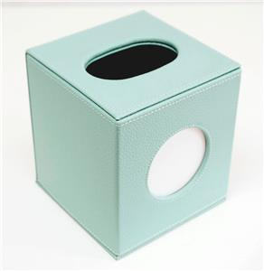 Accessories-Square Tissue Box in Aqua Leather for a Needlepoint Canvas by LEE