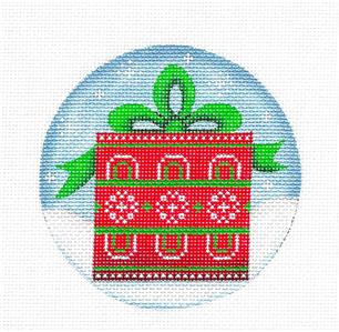 Round ~The PRESENT gift wrapped handpainted Needlepoint Canvas by Rebecca Wood