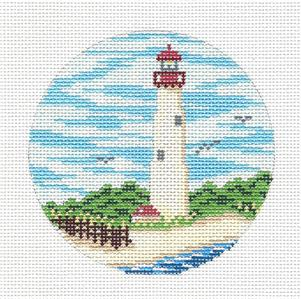 "Round~4"" CAPE MAY, NJ Lighthouse handpainted Needlepoint Canvas Needle Crossings"