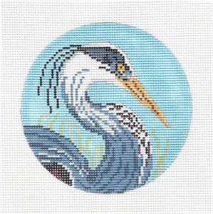 "Round~4"" Great Blue Heron handpainted Needlepoint Canvas by Needle Crossings"