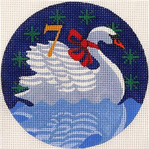 12 Days of Christmas 7 Swans Swimming handpainted Needlepoint Ornament Juliemar