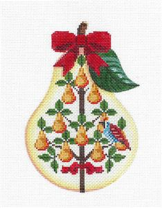 Pear~12 Days of Christmas PEAR 1 Partridge in Tree HP Needlepoint Canvas Painted Pony
