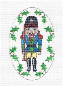 Grand Rifle Guard Nutcracker Oval handpainted Needlepoint Canvas Creative Needle