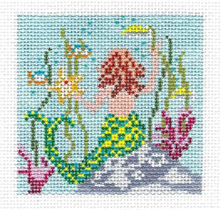 "Canvas~Mermaid 3"" Sq. Undersea handpainted Needlepoint Canvas by Needle Crossings"