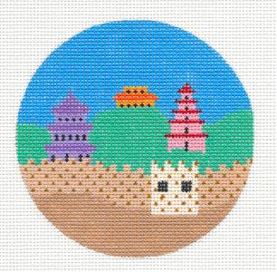 "Round~4""CHINA The Great Wall handpainted Needlepoint Canvas 4"" Ornament by Painted Pony **MAY NEED TO BE SPECIAL ORDERED**"