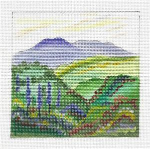 Canvas~ Summer Floral View Landscape handpainted Needlepoint Canvas by JulieMar