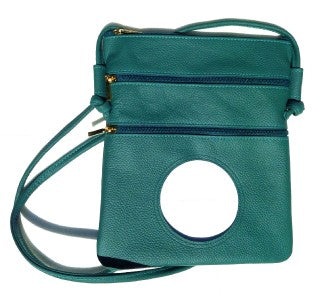 Accessory~Leather Cross Body Purse in Green for handpainted Needlepoint Canvas BAG 63G LEE