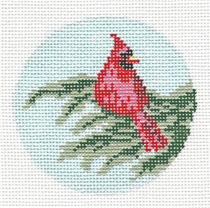 "Round~ 3"" Male Cardinal handpainted Needlepoint Canvas by Needle Crossings"