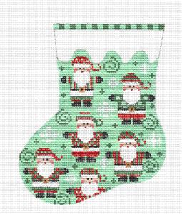 Mini Stocking- Many Santas Mini Stocking handpainted Needlepoint Ornament by CH Designs ~ Danji