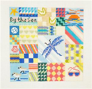 Canvas~Seaside Quilt handpainted 13 mesh Needlepoint Canvas by Needle Crossings