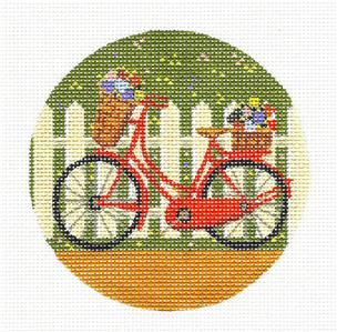 "Round~4"" Fairy Bicycle by the Fence handpainted 4"" Needlepoint Canvas from Painted Pony"