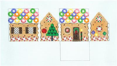 3D LIFESAVERS & CHOC. CHIP Gingerbread House 3-D Needlepoint Ornament Susan Roberts