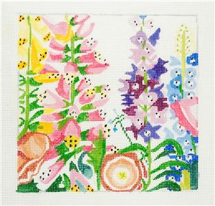 "Garden Treasures #1 handpainted 8"" Sq. 13m Needlepoint Canvas Jean Smith"