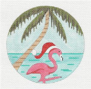 "Round- ""Flamingo in a Santa Hat"" Seaside handpainted Needlepoint Canvas by Purple Palm"