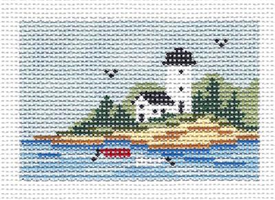 "Canvas~ LIGHTHOUSE to fit Planet Earth ID TAG 2"" by 3"" handpainted Needlepoint Canvas N.Crossings"